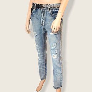 """Hong Tao Distressed Ripped Size 31"""" Blue Jeans"""